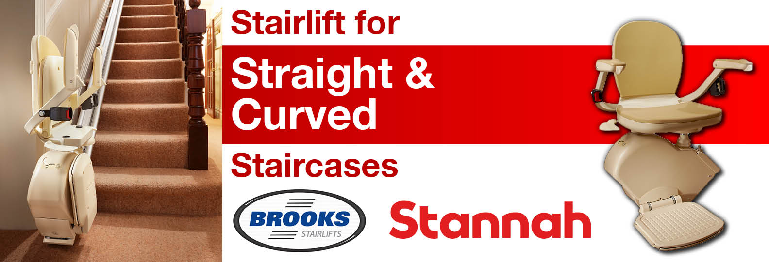 Stair lifts for straight and curved staircases
