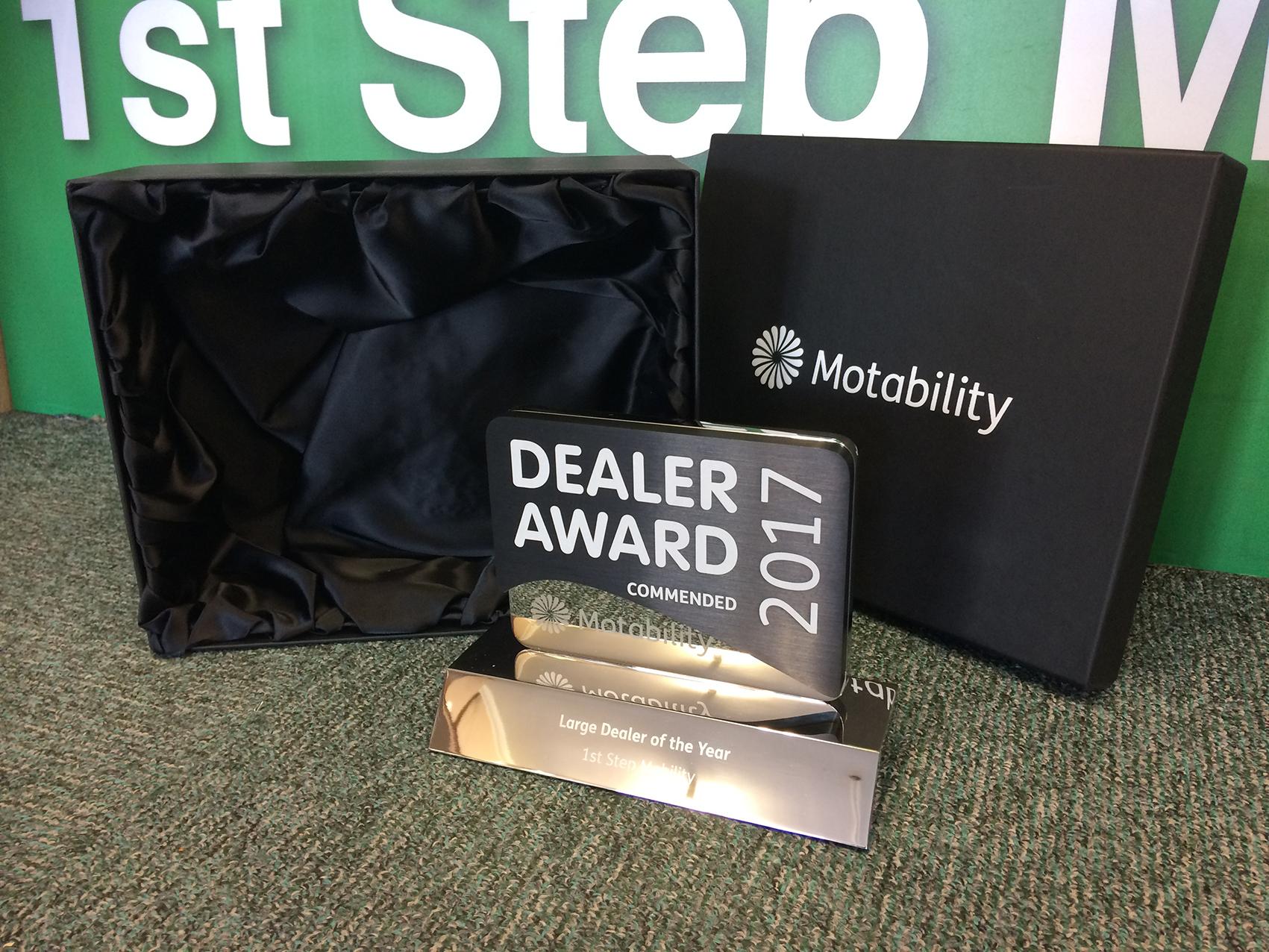 Dealer award on display