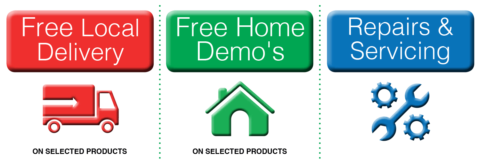 Selected products - free local deliver and home demos. Repairs and servicing