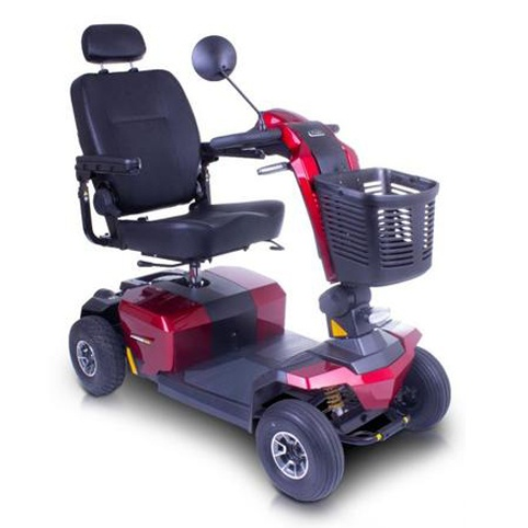 A red mobility scooter with a basket on the front